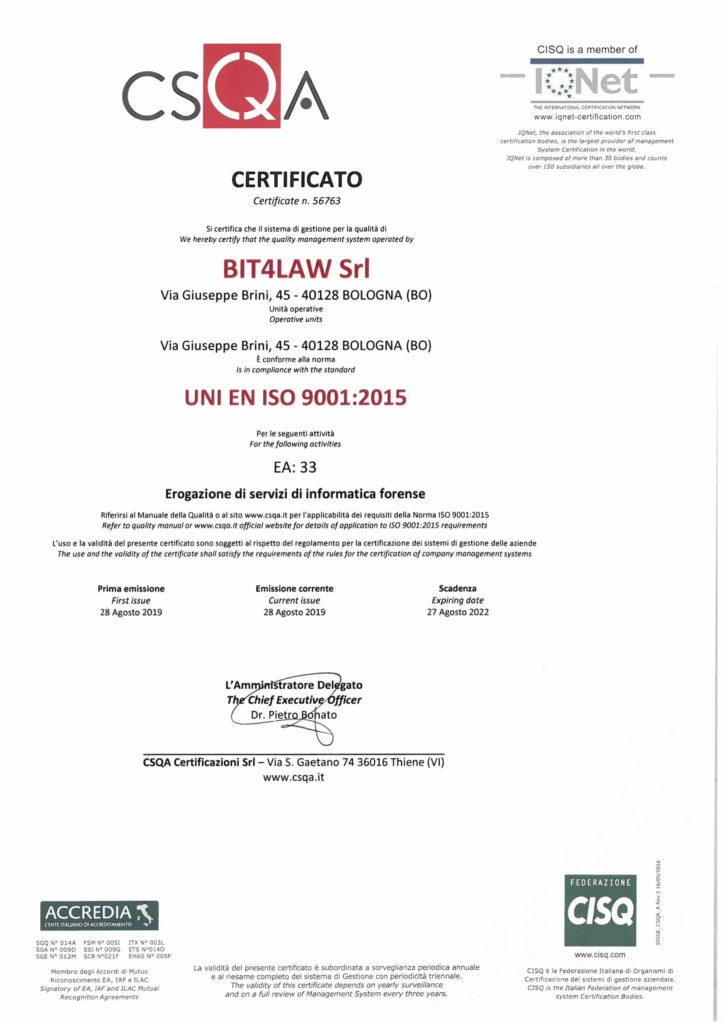azienda informatica forense certificata ISO 9001